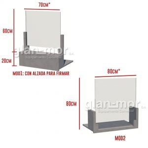 barrera protectora de vidrio y madera